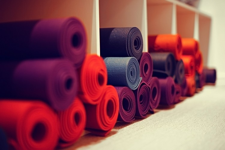yoga mats in yoga club